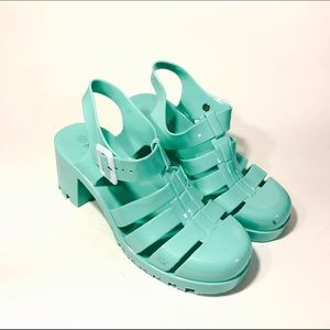 Shoes - Mint Green Platform Jelly Sandals