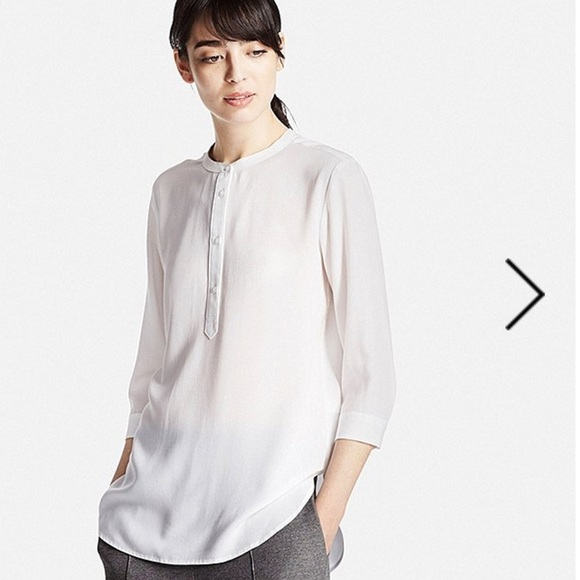 bd338fd32c173e Uniqlo Tops | Women Rayon Stand Collar 34 Sleeve Blouse | Poshmark