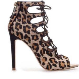 Zara Leopard lace up
