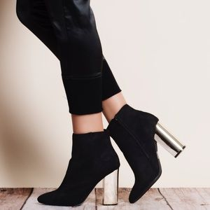 Black Suede Chrome Heeled Boot