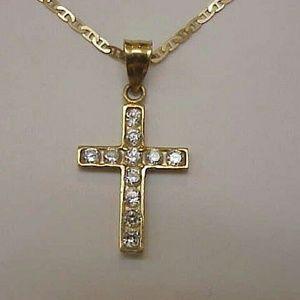 Other - 14k gold 1.00ct cubic zirconia cross pendant