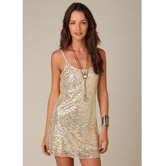 55% off Free People Dresses &amp- Skirts - FREE PEOPLE gold sequin ...