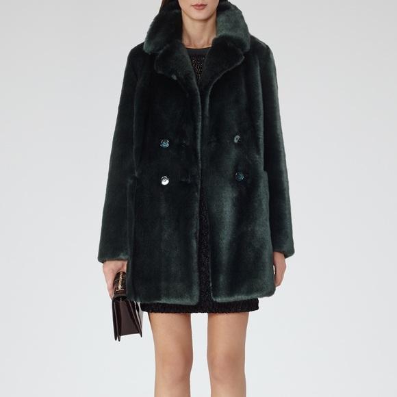 Reiss racing green fur coat