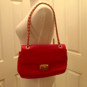 Love Moschino Handbags - LOVE MOSCHINO Red Leather Gold Tone Strap