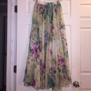 Chicwish Multi Color Floral Maxi Skirt S