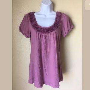 SaleAnn Taylor Lilac Floral Collar Blouse Sz S