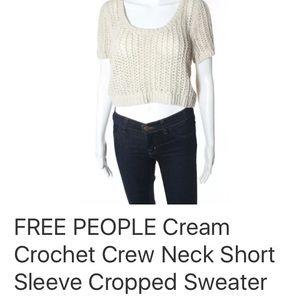 FREE PEOPLE CROCHET CROPPED SWEATER SZ M