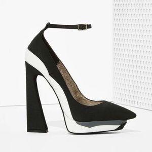 Jeffrey Campbell Shoes - Jeffrey Campbell Power Cut Black and White Pumps