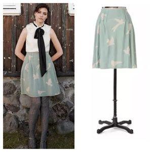 Anthropologie / fulmar bird print sweater skirt