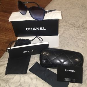 Navy Blue Chanel Sunglasses