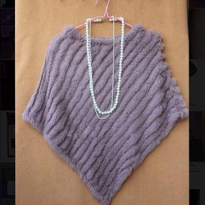 Jackets & Blazers - Lavender color knit rabbit fur poncho/cape size OS