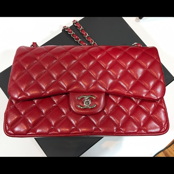 b823c7beb29 Chanel 12A lipstick red jumbo classic flap
