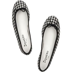 Repetto Shoes - Repetto Black Houndstooth Cotton Ballet Flats