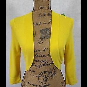 Eliza J Sweaters - Eliza J Cropped  Open front Yellow Bolero Small