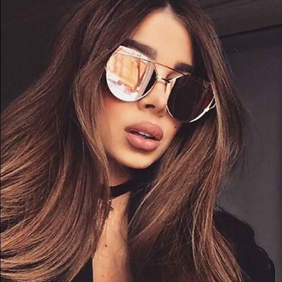 730df3ec5c4 Rose Gold Mirrored Cat Eye Sunglasses