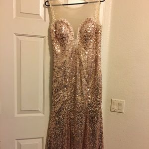 Long Gold Sequined Dress