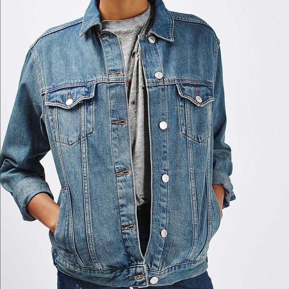 5e5f91ebe58 Topshop Jackets & Coats | Moto Oversized Western Denim Jacket | Poshmark