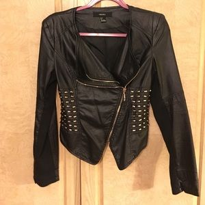 Black faux leather and gold studs jacket