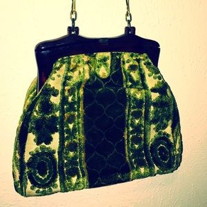 Vintage bakelite green tapestry carpet purse