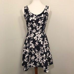 Dark Navy Blue White Floral Dress. Size M