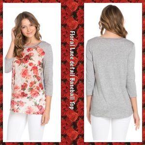 🌹 Floral Print Lace Baseball T-Shirt 🌹