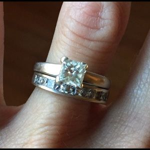 14k white gold diamond ring princess cut