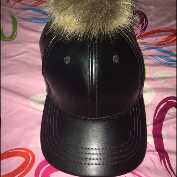 c3791ca0e7c Black leather hat with fur ball. M 584ea3c1d14d7b09330354cd