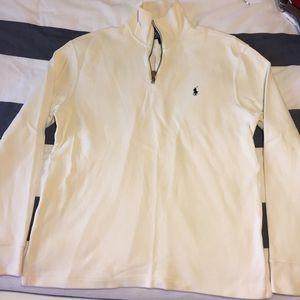 Cream half zip polo sweater