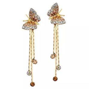 Jewelry - DF100 Swarovski Cognac Crystal Butterfly Earrings