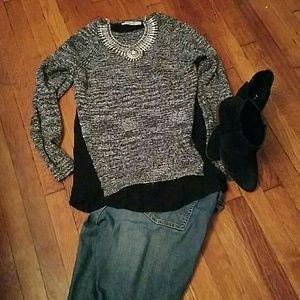 LOFT super cute two tone fitted sweater.