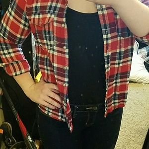 Plaid button up shirt with lace back