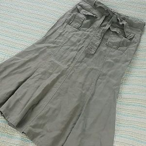 Willi Smith Dresses & Skirts - Taupe Gray Long Linen Willi Belted Long Skirt Sz 8