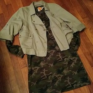 LOFT Army green 3/4 sleeve jacket