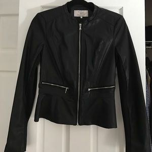 Zara black faux leather jacket; size small: new