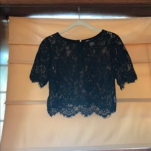 I Love Gorgeous Tops - Black lace cropped shirt