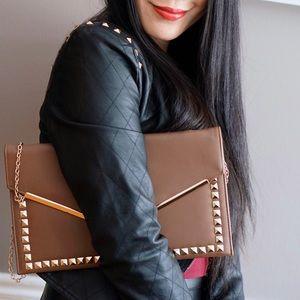 Handbags - Brown studded envelope chain shoulder bag/clutch