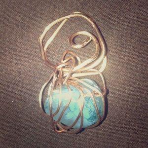 Copper and blue howlite stone pendant