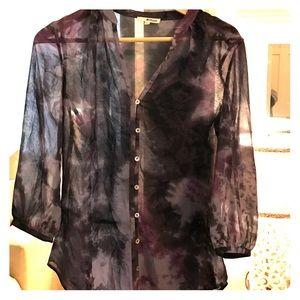 LAmade Tops - LAmade blouse. XS. Sheer. Purple gray print.