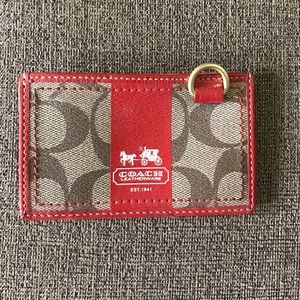 Coach orange card holder