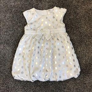 2T white silver polka dot dress