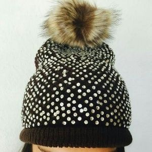 Accessories - $8 SALE! Rhinestone Accent Pompom Beanie