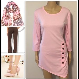 Pink asymmetrical top with side buttons