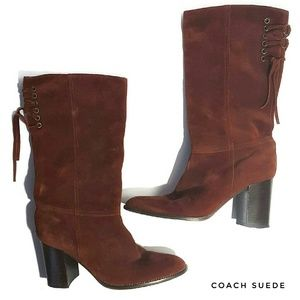 COACH Suede Lace up Boots