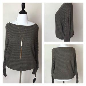 Alfani Sweaters - Alfani Dolman Ribbed Sweater in Gray Size XL