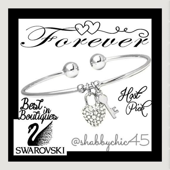 Swarovski Jewelry - Silvertone Key to my Swarovski Heart Arm Cuff