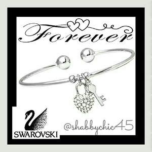 Silvertone Key to my Swarovski Heart Arm Cuff