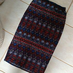 Geometric aztec midi skirt