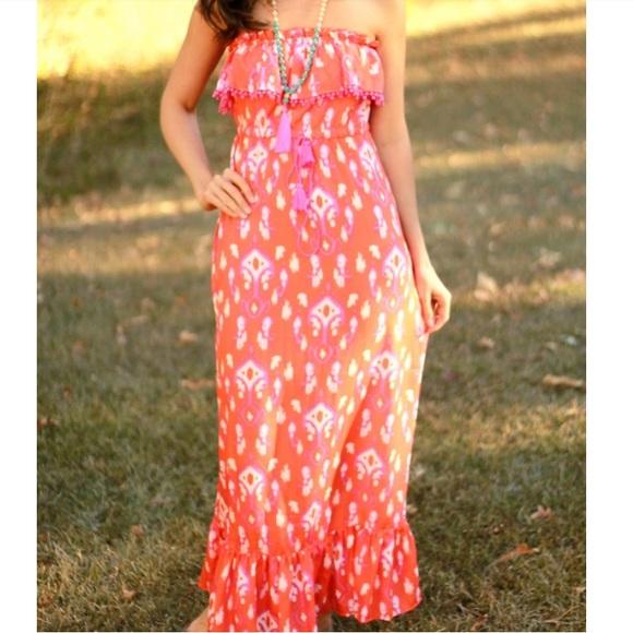 25ab8e213d Mud Pie Dresses | Mudpie Ikat Orangewhitepink Fringe Maxi Dress ...