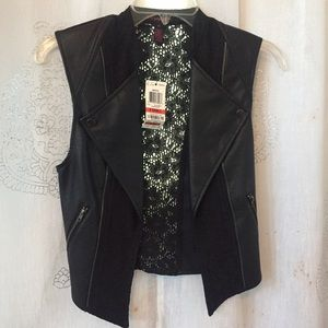 Faux leather and lace vest