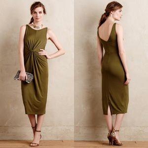 HD in Paris olive green knot midi dress